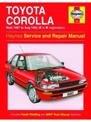TOYOTA COROLLA PETROL 1987-92 - OWNERS WORKSHOP MANUAL