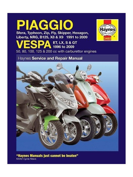 PIAGGIO - VESPA SCOOTERS - HAYNES SERVICE & REPAIR MANUAL