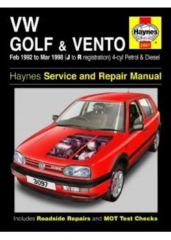 VW GOLF & VENTO PETROL & DIESEL 1992-98 - OWNERS WORKSHOP MANUAL