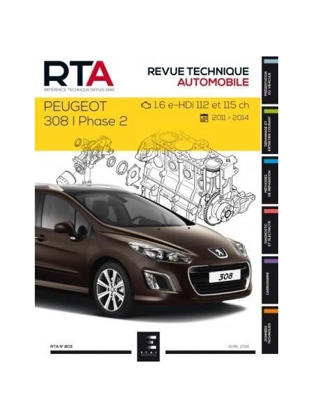 RTA803 PEUGEOT 308 I PHASE 2 1.6 E-HDI 112 -115 CH